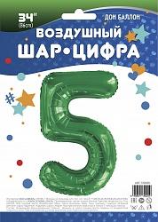 Шар (34''/86 см) Цифра, 5, Slim, Зеленый, 1 шт. в упак.
