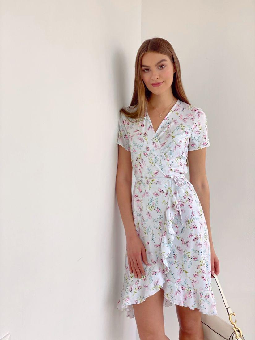 4078 Платье с запахом белое с цветочками