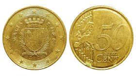 Мальта 50 евро центов 2008 г. регулярная монета. ГЕРБ