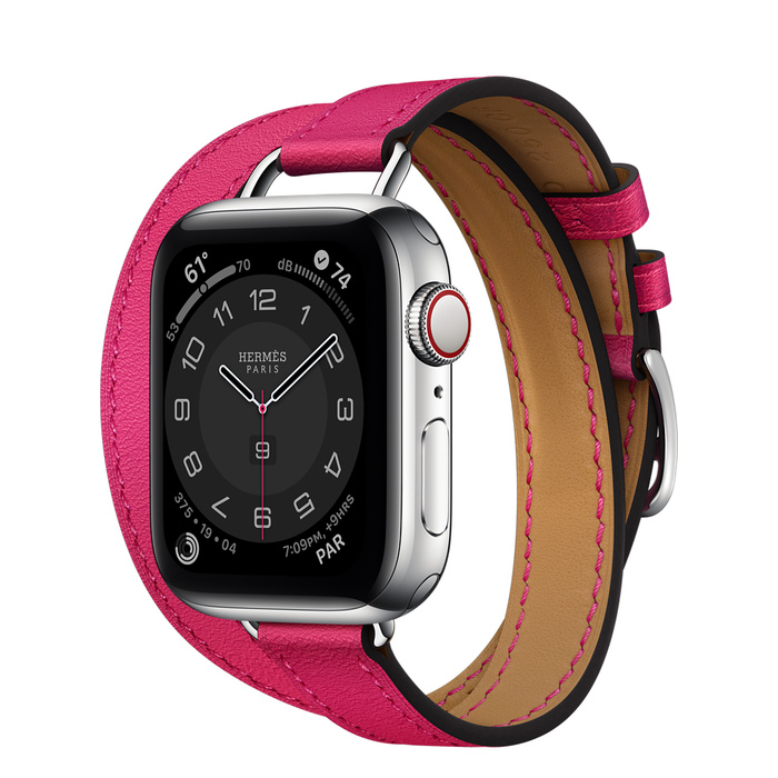 Часы Apple Watch Hermès Series 6 GPS + Cellular 40mm Silver Stainless Steel Case with Rose Mexico Swift Leather Attelage Double Tour