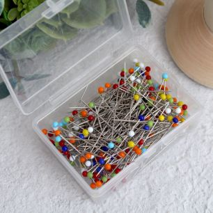 Булавки портновские со стеклянной головкой 38 мм, разноцветные