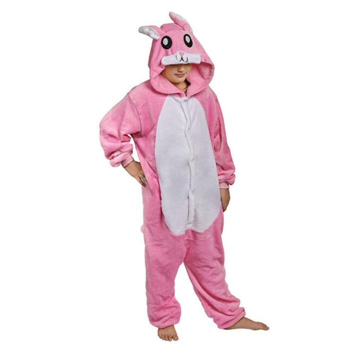 Детская Пижама Кигуруми Заяц Розовый Темный