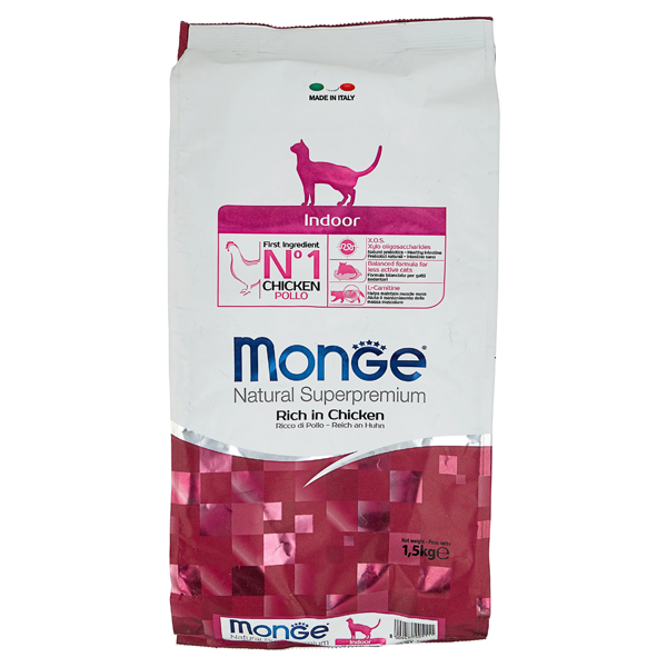 Сухой корм для кошек Monge Natural Superpremium Indoor для живущих в помещении с курицей 1.5 кг