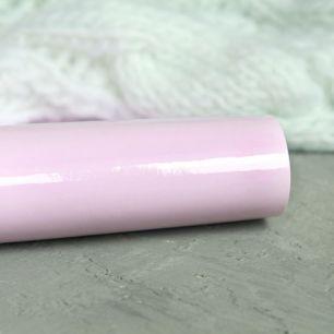 Экокожа для кукольных ботиночек лаковая, светло-розовая 30х20 см.
