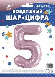 Шар (34''/86 см) Цифра, 5, Slim, Светло-розовый, 1 шт. в упак.