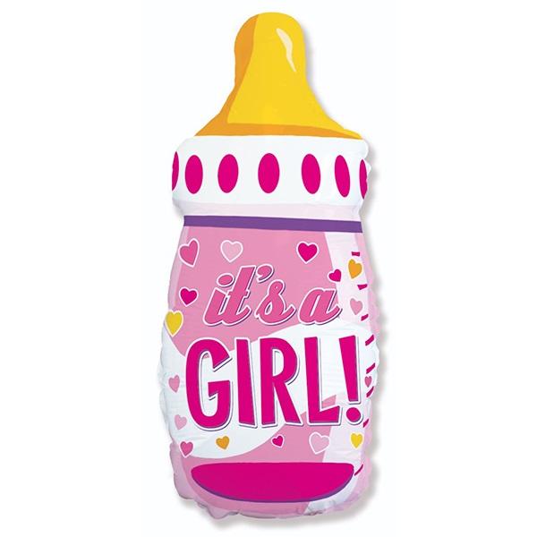 Бутылочка для девочки новая шар фольгированный с гелием