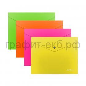 Конверт B5  на кнопке ErichKrause Glossy Neon полупрозрачный 50302