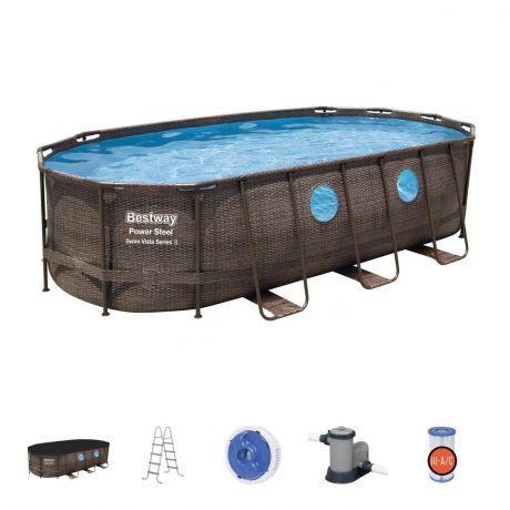 """Каркасный овальный бассейн Bestway """"Ротанг"""", 549х274х122 см + фильтр-насос 5678 л/ч, лестница, тент (56716 BW)"""