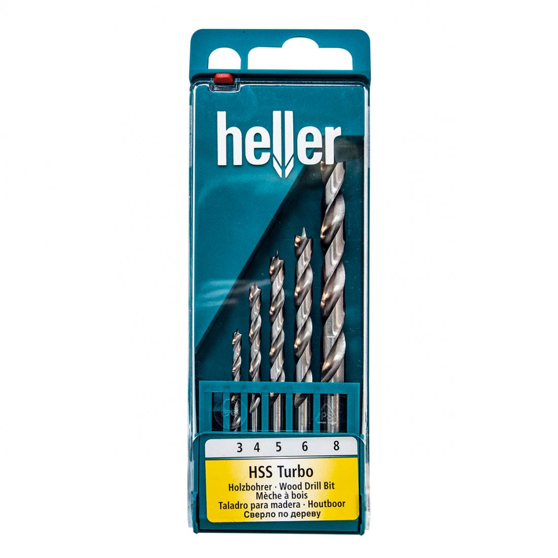 Набор спиральных сверл Heller HSS turbo (3,4,5,6,8 мм) (5 пр.)