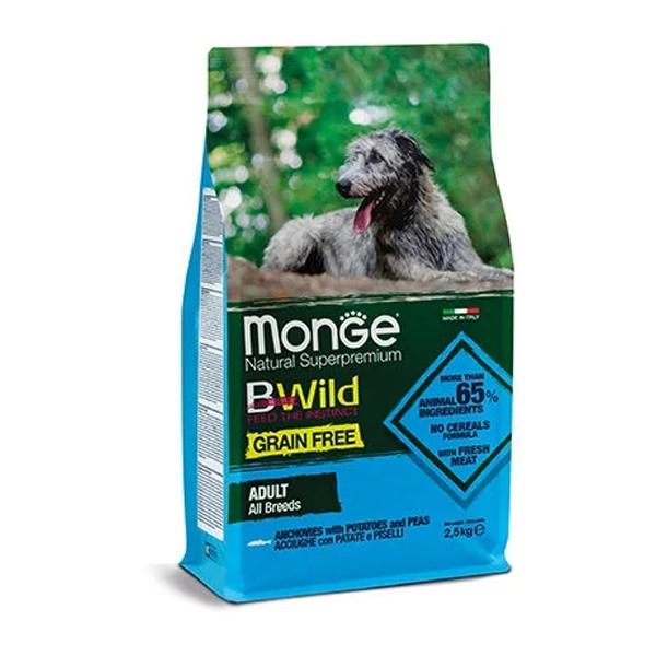 Сухой корм для собак Monge BWILD Feed the Instinct с анчоусом картофелем и горошком 2.5 кг