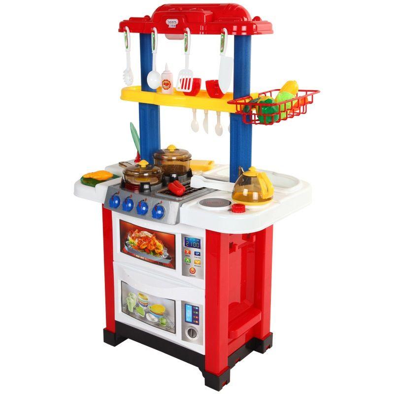 768A Детская кухня двухсторонняя с водой Happy Little Chef 33 предмета 2 в 1 высота 83 см.