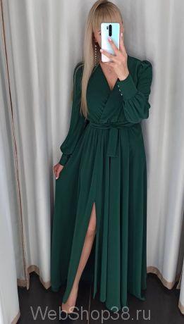 Изумрудное вечернее платье в пол с разрезом и рукавами