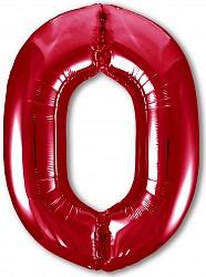 Шар (40''/102 см) Цифра, 0 Slim, Красный, 1 шт. в упак.