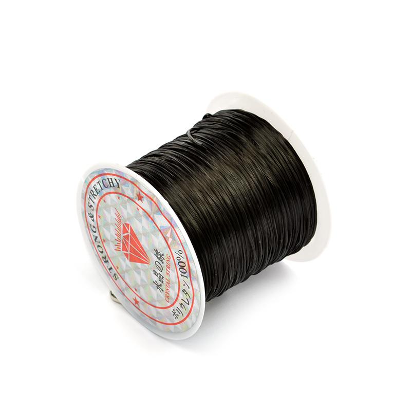 Эластичная нить-резинка 0,8 мм Плоская черная прозрачная без оплетки (НИТЬ.Р.ЧЕР)
