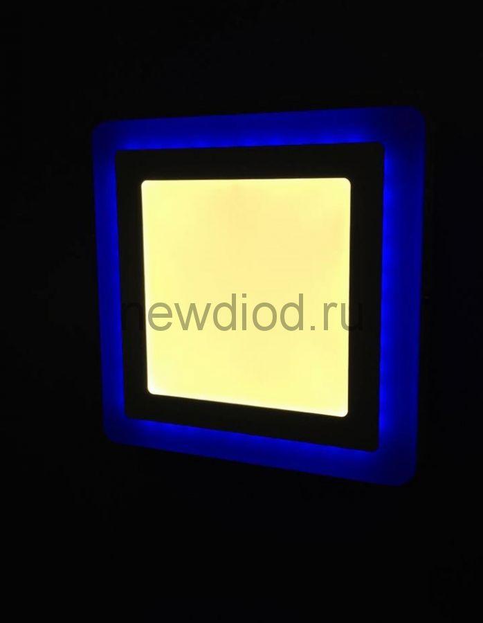 Светильник накладной Sirius 12W+4W-4м² 155/195mm синий КВАДРАТ Oreol (20/кор)