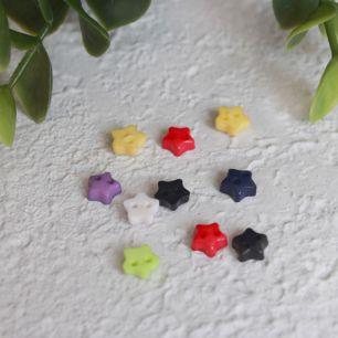 Набор мини пуговиц для творчества - Звездочки, разноцветный микс, 10 шт., 6 мм.