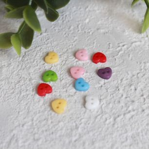 Набор мини пуговиц для творчества - Сердечки, разноцветный микс, 10 шт., 6 мм.