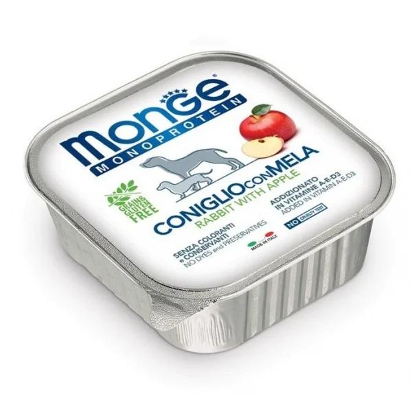 Влажный корм для собак Monge Monoprotein беззерновой с кроликом и яблоком 150 гр