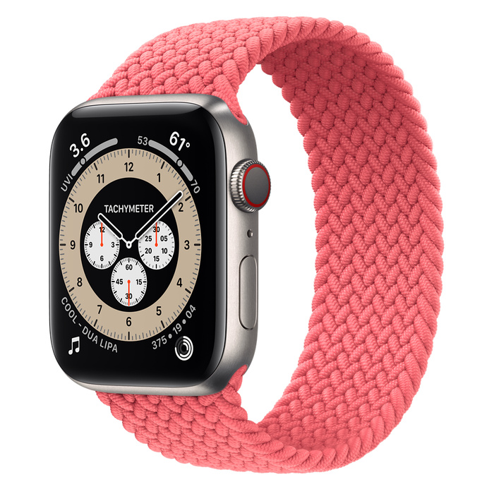 Часы Apple Watch Edition Series 6 GPS + Cellular 44mm Titanium Case with Pink Punch Braided Solo Loop
