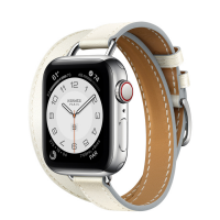 Часы Apple Watch Hermès Series 6 GPS + Cellular 40mm Silver Stainless Steel Case with Blanc Swift Leather Attelage Double Tour