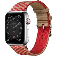Часы Apple Watch Hermès Series 6 GPS + Cellular 44mm Silver Stainless Steel Case with Kraft/Rouge de Cœur Jumping Single Tour