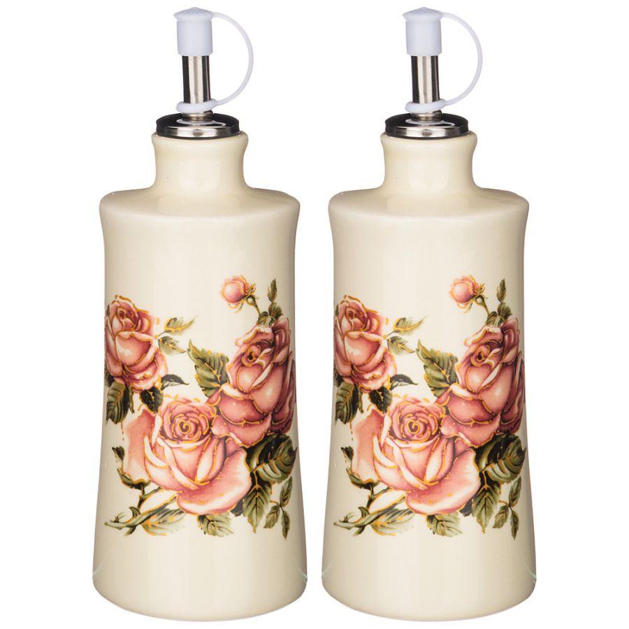 "Набор для масла/уксуса ""Корейская роза"" 2пр. 6.5x6.5 см. h=14.5 см. / 300 мл."