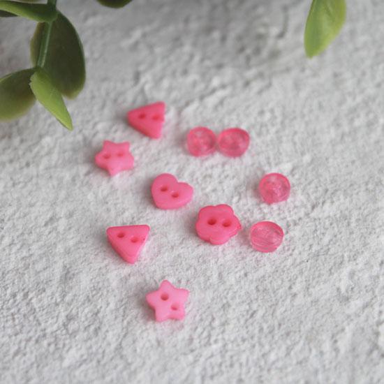 Набор мини пуговиц для творчества - микс форм - ярко-розовые, 10 шт., 5 мм.