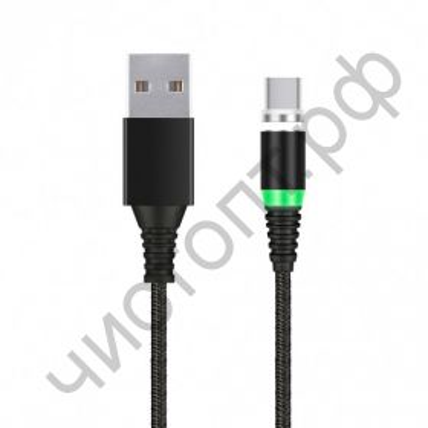 Кабель USB 2.0 Aм вилка(папа) - TYPE C, Smartbuy магнит , 1.0 м, 2 А, черный (iK-3110mt-2) пакет