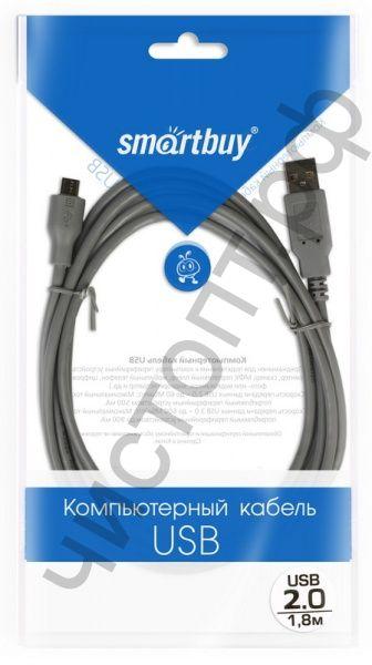 Кабель USB 2.0 Aм вилка(папа)--микро B(microUSB) вилка(папа) 5P, 5 контактов   1.8м, Smartbuy (K740)