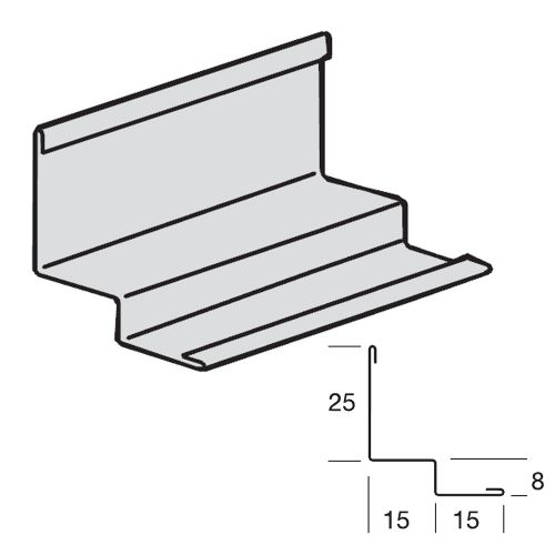 Пристенный молдинг PRELUDE 3050x25 x15 мм цвет RAL9010 для плит с кромкой MicroLook