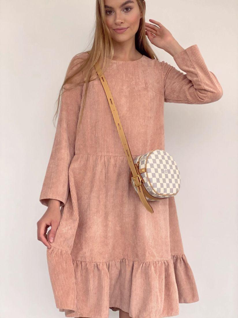 3876 Платье вельветовое в тёплом розовом цвете