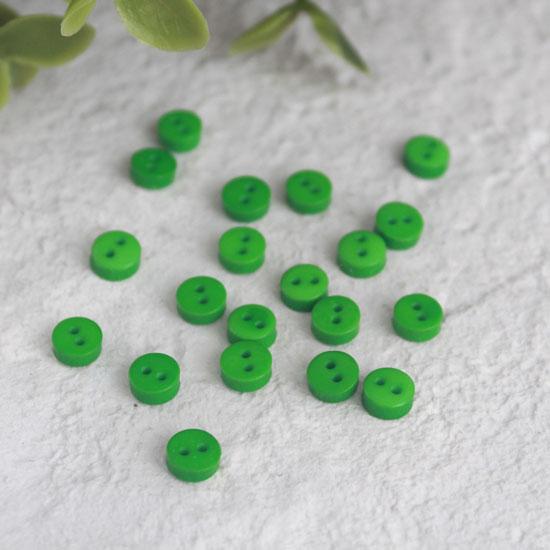 Набор мини пуговиц для творчества, зеленые, 10 шт., 5 мм.