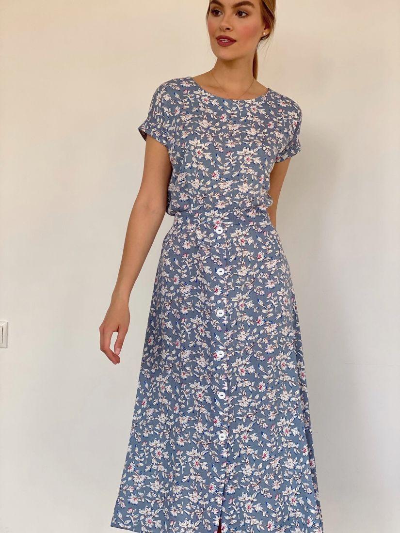 4160 Платье из хлопка серое с белыми цветами