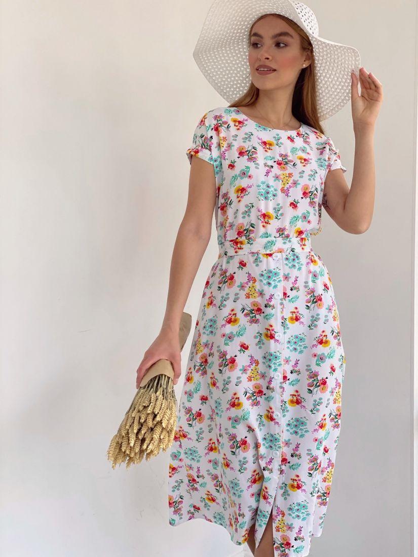 4163 Платье белое с цветочками