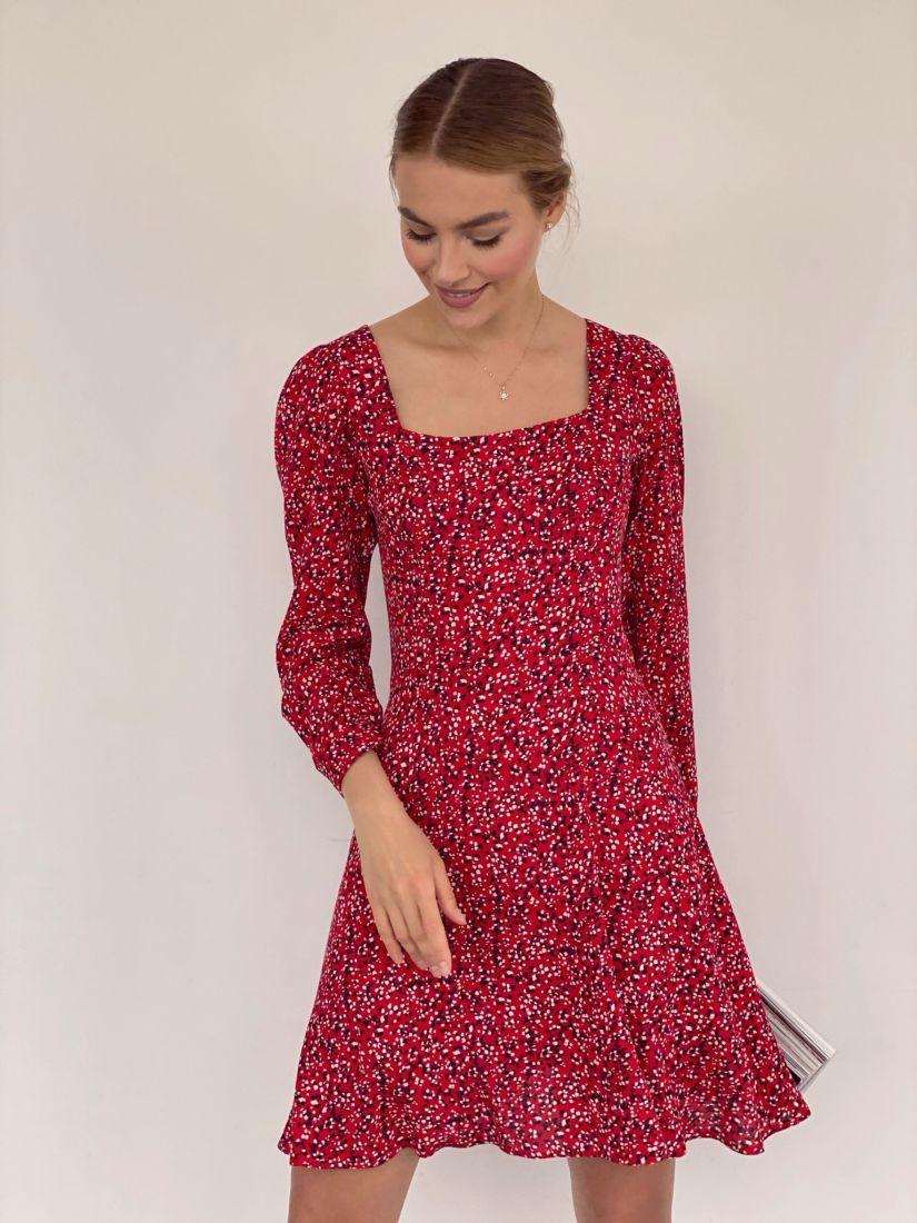 4164 Платье с вырезом каре из красного жатого хлопка