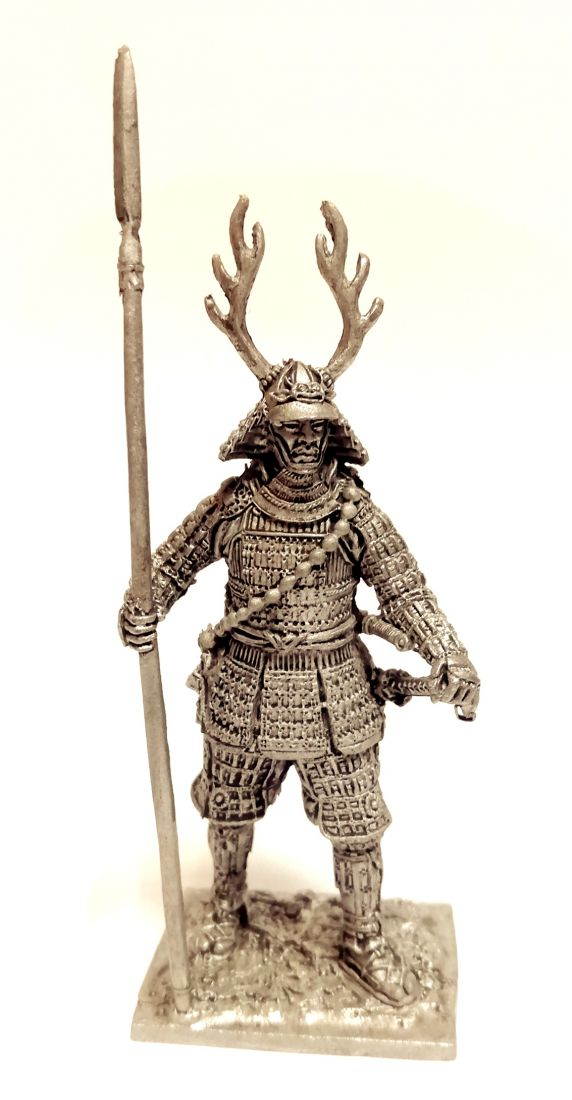 Фигурка Самурай с копьем яри 1600 г. олово