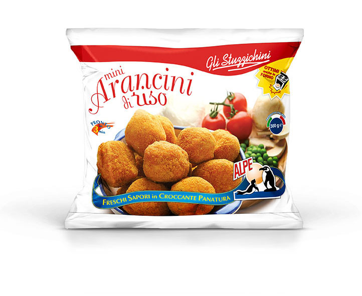 Мини аранчини из риса с томатами, моцареллой, грибами и горохом 300 г, MINI ARANCINI DI RISO CON POMODORO, MOZZARELLA, FUNGHI E PISELLI SURGELATI, Alpe, 300g
