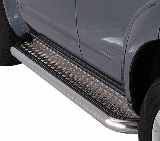 Пороги нержавейка с алюминиевым листом Toyota Tundra