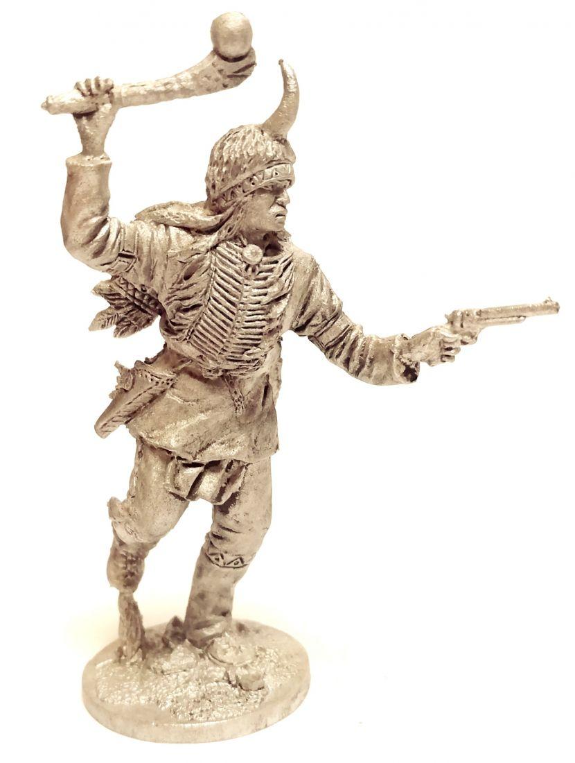 Фигурка Индеец с булавой и пистолетом олово