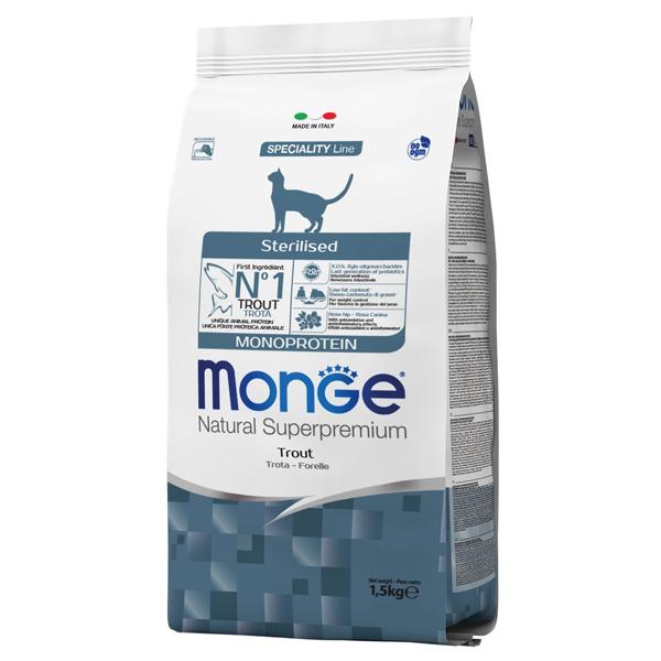 Сухой корм для стерилизованных кошек Monge Natural Superpremium профилактика избыточного веса с форелью 1.5 кг