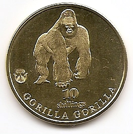 Горилла 10 шиллингов Биафра 2021