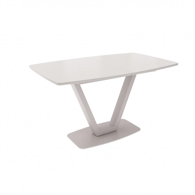 ЛОТУС стол раздвижной с матовым стеклом Matelux Латте/Капучино ЛИСТВИНГ
