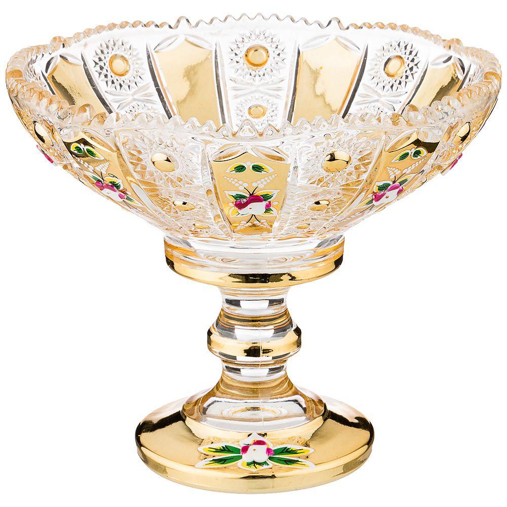 """КОНФЕТНИЦА """"LEFARD GOLD GLASS"""" 14*14 СМ. ВЫСОТА=12 СМ."""