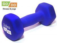 Гантель GO DO в виниловой матовой неопреновой оболочке. Вес 3 кг. (синий)., артикул 31562 (шт.)