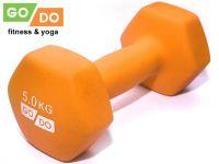 Гантель GO DO в виниловой матовой неопреновой оболочке. Вес 5 кг. (оранжевый), артикул 31733 (шт.)