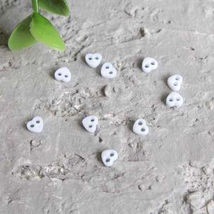 Набор микро пуговиц для творчества - Светло-мятные сердечки, 10 шт., 4 мм.
