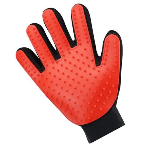 Перчатка для вычёсывания шерсти True Touch, цвет - красный.