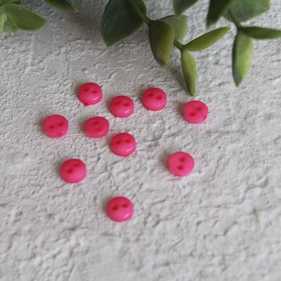 Набор мини пуговиц для творчества, Яркие розовые, 10 шт., 6 мм.