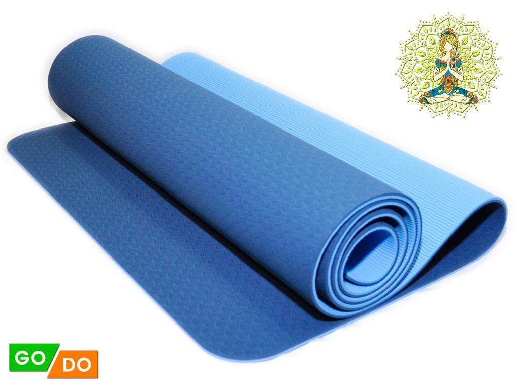 Коврик для йоги и фитнеса. Цвет синий, артикул 00071