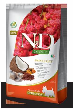 N&D Dog Quinoa Skin&coat Herring Adult Mini (Сельдь, киноа, кокос и куркума для собак мелких пород. Здоровье кожи и шерсти)